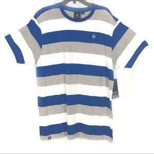Men's Shirt Blue Stripe Short Sleeves by Akademiks